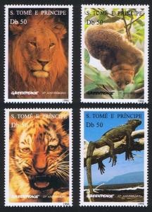 Sao Tome Wild Animals Tiger Lion 4v MI#1676-1679 SC#1237-1240