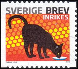 Sweden # 2631a used ~ (6k) Cat Drinking