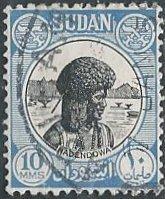 Sudan 103 (used) 10m Hadendowa, light blue (1951)