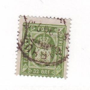 Denmark Sc O9 1875 32 ore green Official stamp used