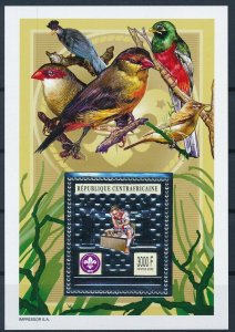 [I537] Central Africa 2002 Scouting Birds good sheet silver stamp very fine MNH