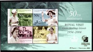COCOS ISLAND 340a MH S/S SCV $10.00 BIN $4.50 ROYAL VISIT, STAMP EXPO
