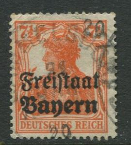 Bavaria -Scott 179 - Stamp of Germany Overprint -1919 - Used - 7.1/2pf Stamp