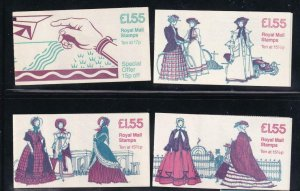 GB BK # 651-625 VF-MNH  4 DIFFERENT COVERS BOOKLETS PO FRESH CAT VALUE $28+