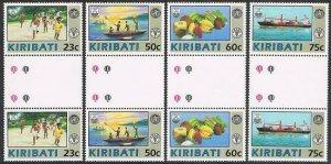 Kiribati 595-598 gutter,MNH.Michel 595-598. FAO,WHO 1992.Fishing,Fruit,Ship.