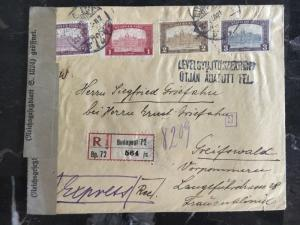 1921  Budapest Hungary Registered Censored Cover To Germany