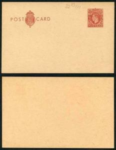 CP104c KGVI 2d Red Brown Inland Card Format CF17 Stamp L26 Size F Mint