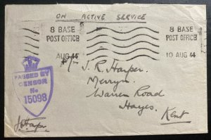 1944 England Base Army Post Office BAPO 8 Censored Oas Cover To Hayes