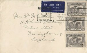 APH819) Australia 1940 Small airmail cover to UK. Bears 3 x 6d Brown Airmails