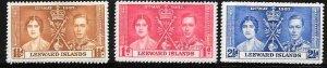 Leeward Islands #100-102 Coronation (MNH) CV $3.00
