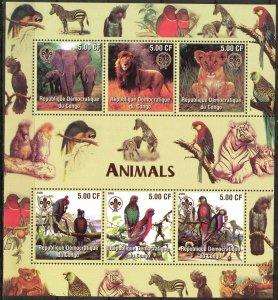Congo 2005 Scouting Birds Animals Lions Elephants Sheet of 6 MNH Cinderella !