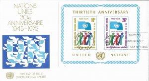 1975 FDC, #262 (NY), 30th Anniversary S/S, Official Geneva