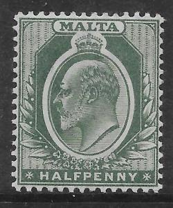 MALTA SG38 1903 1/2d GREEN MTD MINT