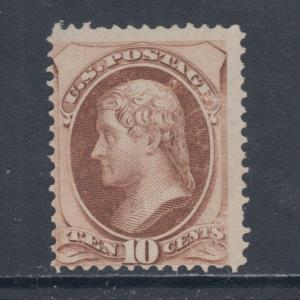 US Sc 150 MNG. 1870 10c brown Jefferson, Scarce