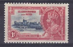 DB352) St. Christopher and Nevis 1935 Jubilee 1d deep blue & scarlet SG 61