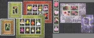 S1220 DOMINICA FLORA NATURE FLOWERS ORCHIDS OF CARIBBEAN BASIN 3KB+3BL+SET MNH