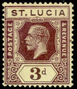 ST. LUCIA SG100a, 3d deep purple/pale yellow, LH MINT. Cat £32.