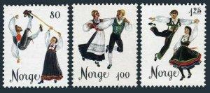 Norway 670-672,MNH.Michel 719-721. Folk Dances,1976.Halling,Springar,Gangar.