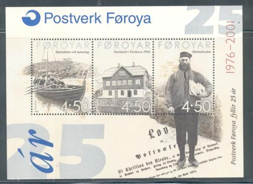 Faroe Islands Sc 395 2001 25th Postal Service stamp sheet mint NH