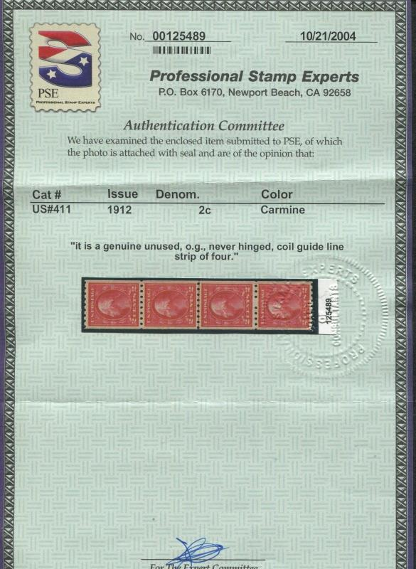 1912 US Coil Stamp #411 2c Mint Never Hinged VF Guide Line Strip of 4 Certified