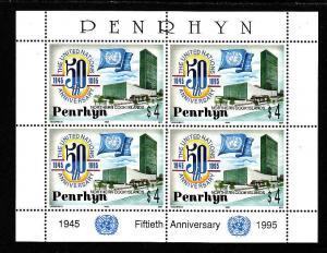 Penrhyn-Sc#446-unused NH sheet-UN 50th anniversary-Flags-1995-