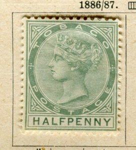 TOBAGO; 1887 early classic QV Crown CA Mint hinged 1/2d. value