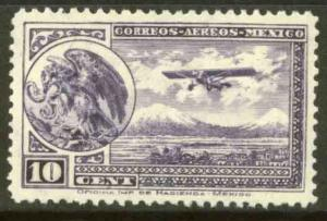 MEXICO C11, 10¢ EARLY AIR MAIL, COAT OF ARMS AND PLANE, SINGLE. MINT, NH. VF.