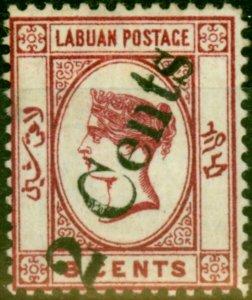 Labuan 1885 2c on 8c Carmine SG26 Fine Mtd Mint