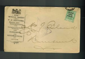 1901 Orange River Colony Censored Martial Law Cover Imperial Bakery