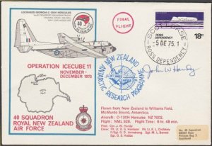 NEW ZEALAND ROSS DEPENDENCY 1975 signed flight cover ex Scott Base.........A318