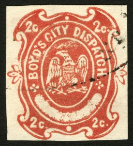 #20LU24 1874 Boyd's City Dispatch Local Red Cut Envelope on Wove Used