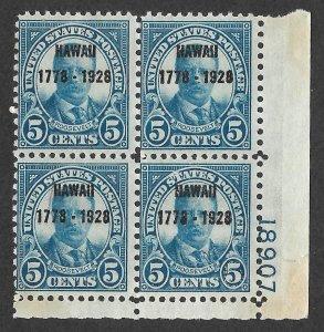 Doyle's_Stamps: 1928 MNH  150th Ann. Hawaiian Overprint 5c PNB, cv $375.00