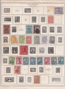 colombia stamps on album page  ref 13543