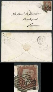 1841 Penny Red (QA) Four Margin on Cover to FRANCE