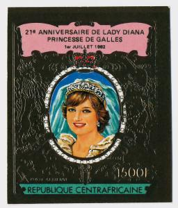 Central Africa imperf Gold Foil C274a MNH Princess Diana 21st Birthday