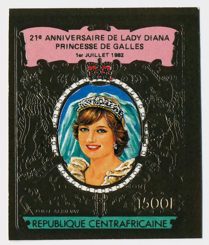 Central African Republic imperf Gold Foil C274a MNH Princess Diana 21st Birthday