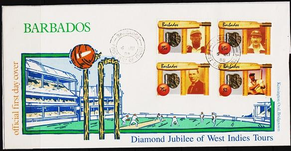 Barbados. 1988 FDC Cricket(Set of 4 Only). Fine Used