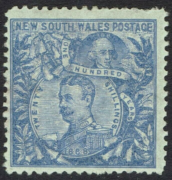 NEW SOUTH WALES 1890 CARRINGTON 20/- WMK 20/-  NSW IN CIRCLE PERF 12
