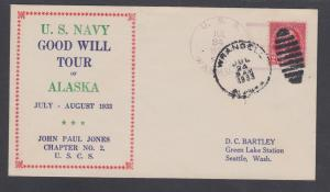 USS DECATUR, 1933 JUNEAU / ALASKA cancel, USN Goodwill Tour Cachet