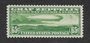 C13 MNH, .65c. Zeppelin, XF+, Free Insured Shipping