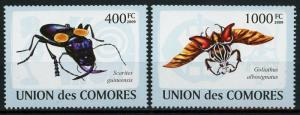 Comoros Flying Insect Serie Set of 2 Stamps Mint NH
