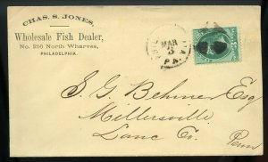 U.S. 3 Cent Bank Note on Ad Cover for Wholesale Fish Dealer in Philadelphia, PA