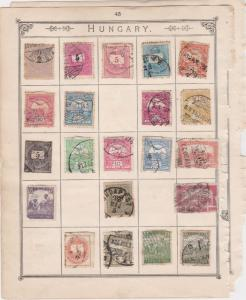 Hungary Stamps on Album Page ref R 18980