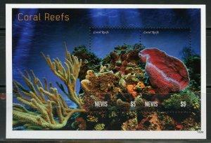 NEVIS  CORAL REEF FISH SOUVENIR SHEET MINT NH
