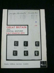 STANLEY GIBBONS AUCTION CATALOGUE 1973 GREAT BRITAIN AND POSTAL HISTORY