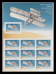 3783 First Controlled Powered Flight Sheet of 10 37¢ Stamps Wright Brothers