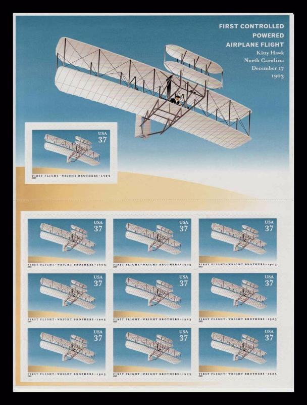 SCOTT #3783 WRIGHT BROTHERS FIRST CONTROLLED FLIGHT MNH