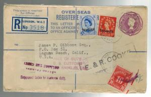 1956 Tangier Morocco to Laguna Beach California USA Overseas Registered Cover