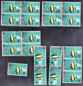 TANZANIA # 32 LOT of 20 STAMPS CTO 5sh NH 1967-71 FISH