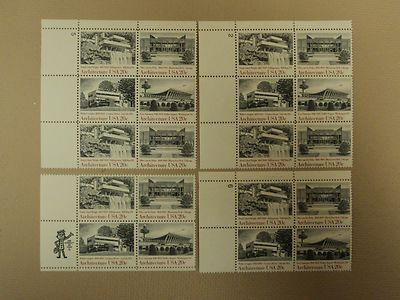 USPS Scott 2019-22 20c American Architecture Lot of 4 Pla...